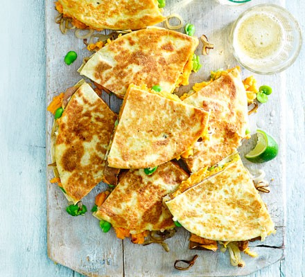 Sweet potato & shallot quesadillas