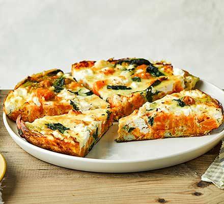 Sweet Potato Spinach Feta Tortilla Recipe Bbc Good Food