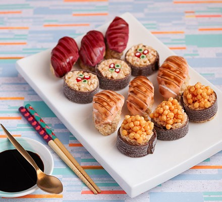 Sweetie sushi on platter with chopsticks