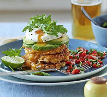 Sweetcorn cakes with poached eggs & salsa