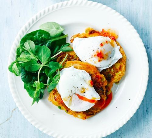 Sweetcorn fritters with poached eggs and salad on plate