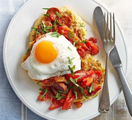 Sweetcorn pancakes with fried eggs & chorizo salsa