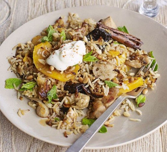 Sweetly spiced rabbit pilaf