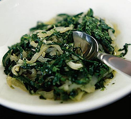 Steamed Swiss chard on a plate