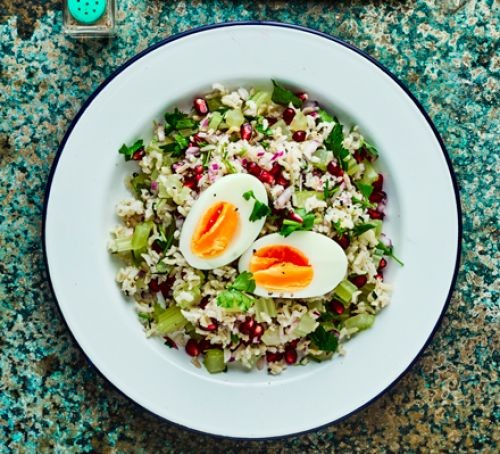 Egg and rice salad on a plate