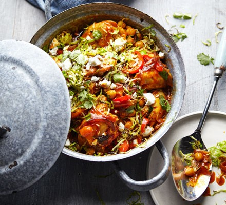 Chicken tagine with spiced Brussels sprouts & feta 2016