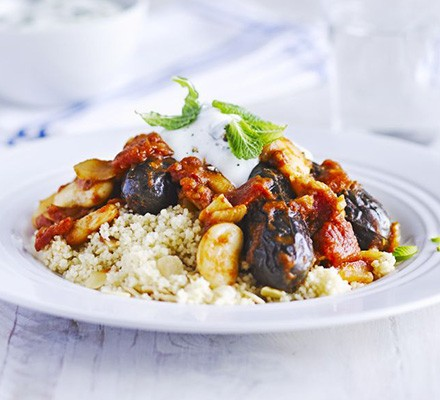 Lemon & mint aubergine tagine with almond couscous