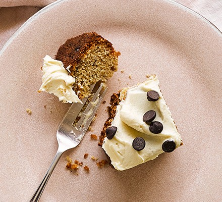 A slice of tahini banana cake