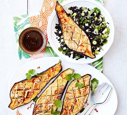 Tamarind aubergine with black rice, mint & feta