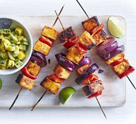 Tandoori paneer skewers with mango salsa
