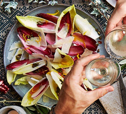 Tangy chicory salad served on a plate