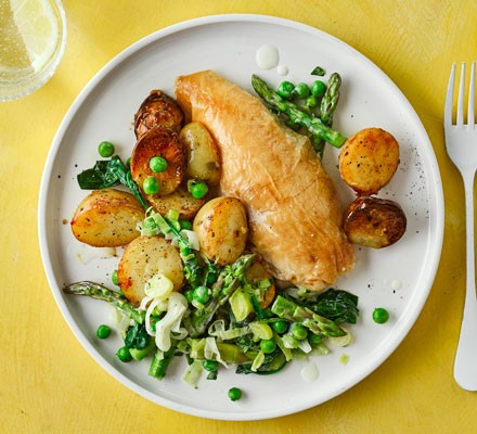 A plate of roast chicken with potatoes and green vegetables