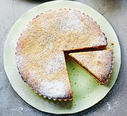 Pistachio & black cherry Bakewell tart