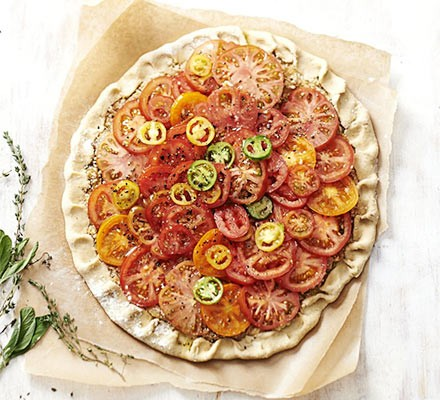 Roasted tomato tart with double-cheese crust