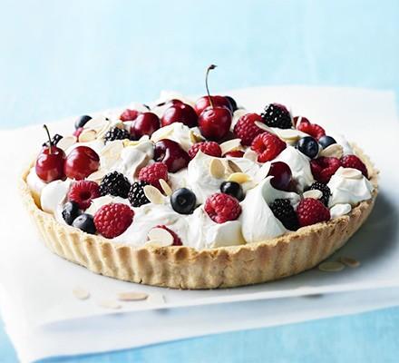 Berry, rose water, almond & meringue tart