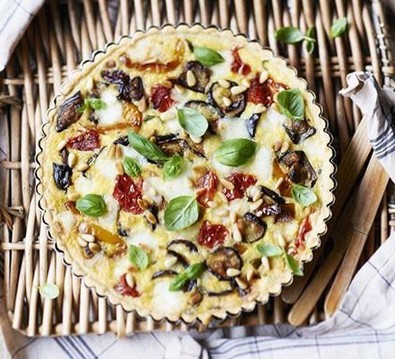 Roasted ratatouille & goat's cheese tart