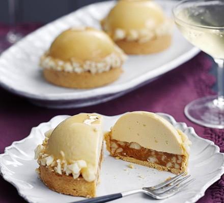 Edd Kimber's Caramelised white chocolate, ginger caramel & macadamia tarts
