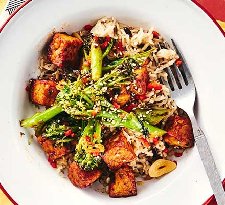 Chilli tempeh stir-fry served in a bowl