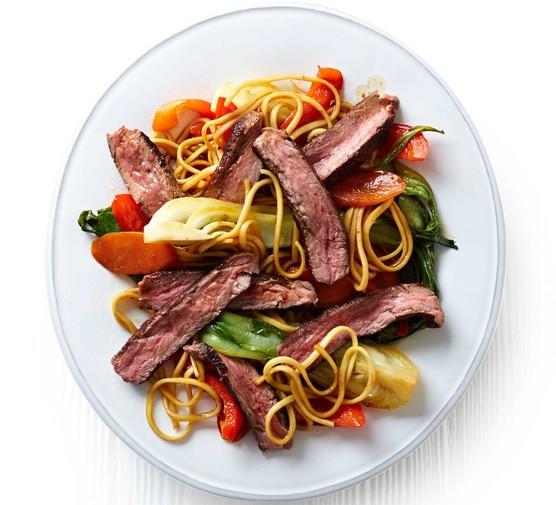 Teriyaki steak with pak choi & noodles