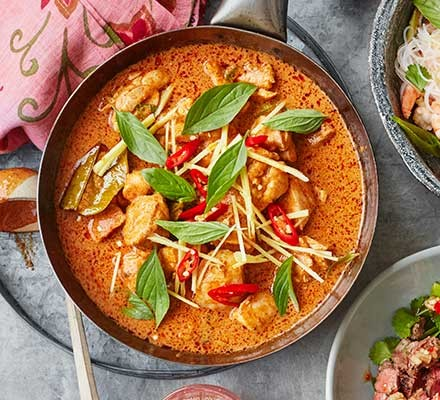 A bowl of Thai red curry