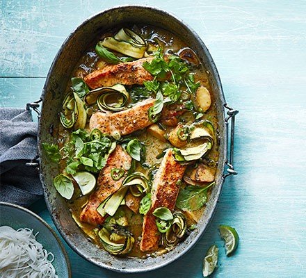One-pan Thai green salmon served in a casserole dish