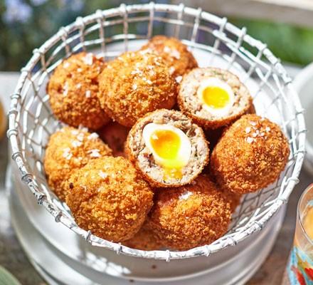 Thyme & caramelised onion mini Scotch eggs