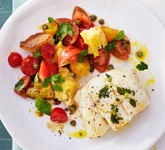 Thyme roast cod & panzanella salad