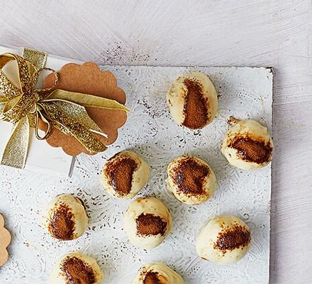 Tiramisu truffles served on a board
