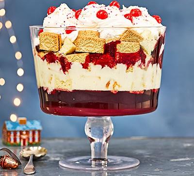 Layered trifle in glass dish