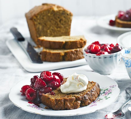 Toasted banana bread with vanilla ricotta & raspberries