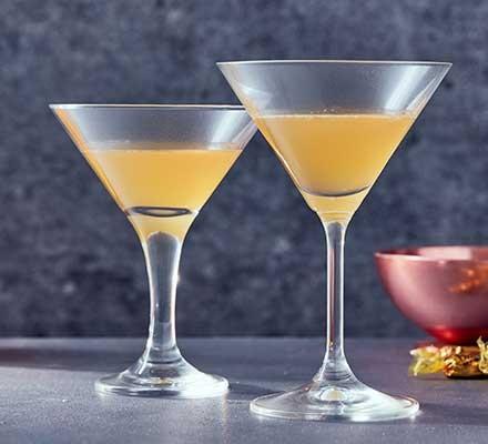 Toffee vodka served in martini glasses