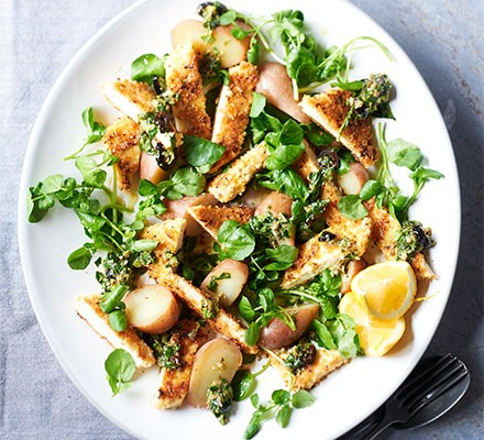 Tofu escalopes with black olive salsa verde