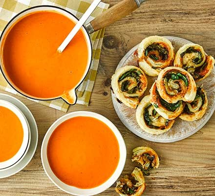 5-veg creamy tomato soup with marmite and spinach pinwheels