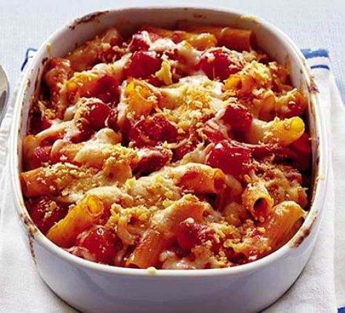 Tomato pasta bake covered in cheese