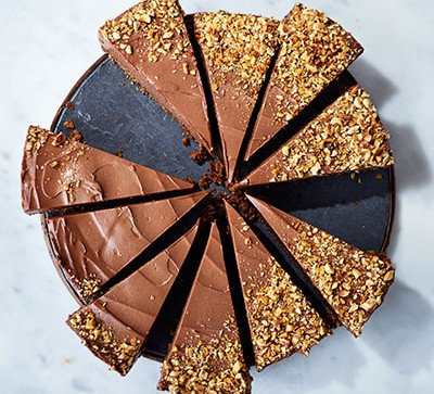 Chocolate cheesecake slices on marble counter