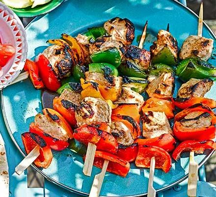 Traffic light chicken shish kebabs served on skewers