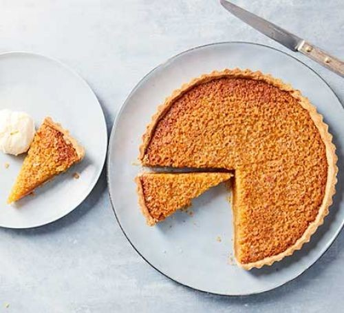 Treacle tart, partially sliced on two plates