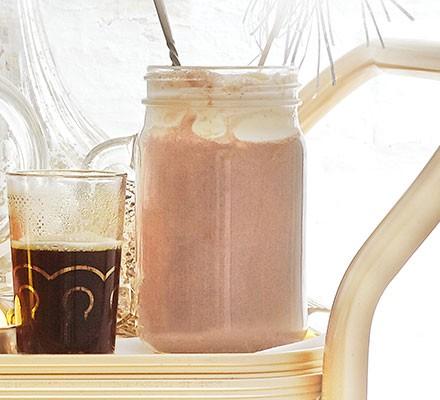 A jar serving triple choc hot chocolate
