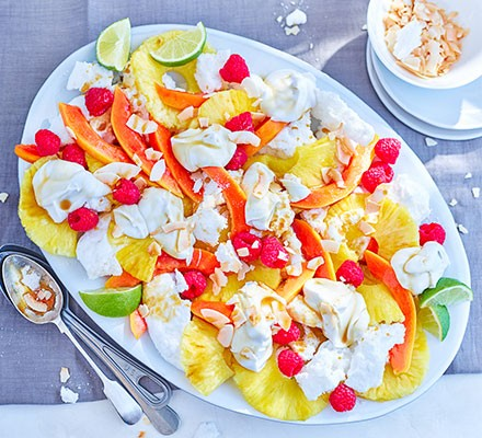 Tropical Eton mess served on an oval serving platter