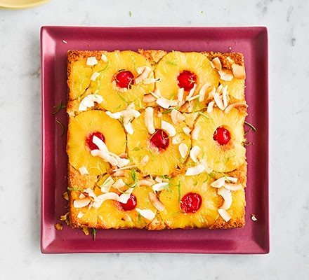 Tropical upside-down cake served on a square plate