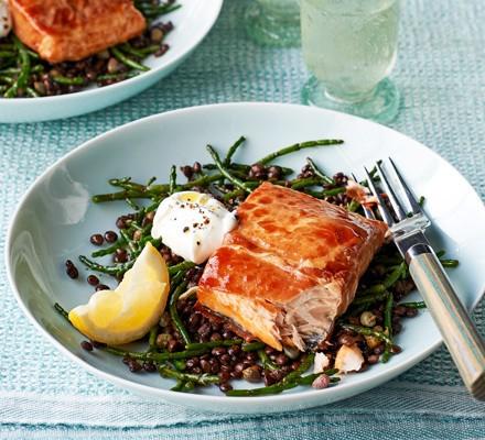 Grilled sea trout, prosciutto, samphire & lentils