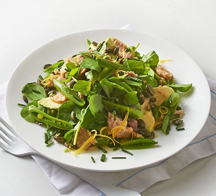 Tuna, sugar snap & avocado salad