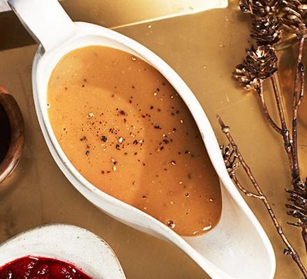 Turkey & chestnut gravy in a gravy boat
