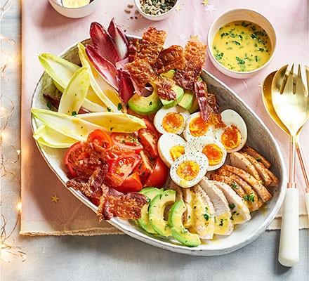 Turkey cobb salad served in a bowl