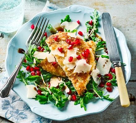 Turkey schnitzel with rocket & pomegranate salad