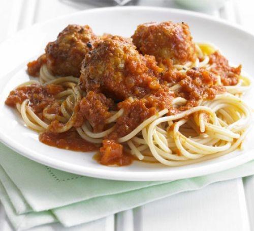 Turkey meatballs on spaghetti, covered in sauce