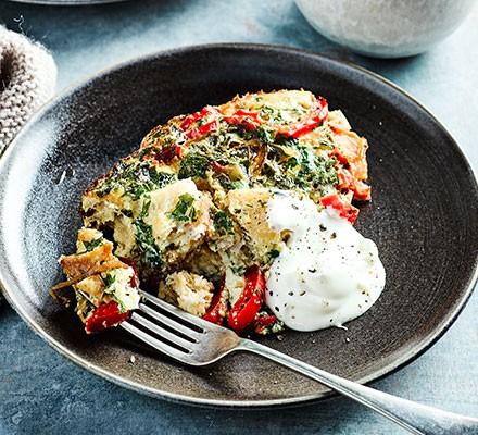 A plate serving slow cooker Turkish breakfast eggs