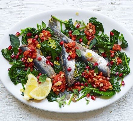 Lemon & marjoram sardines with walnut & pepper dressing