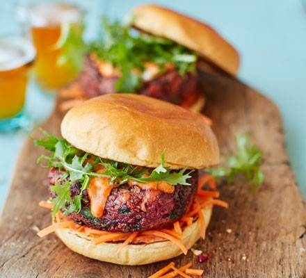 Ultimate veggie burger with pickled carrot slaw