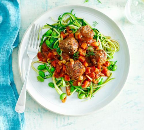 A plate of courgetti topped with meatballs, fennel and beans in a balsamic tomato sauce